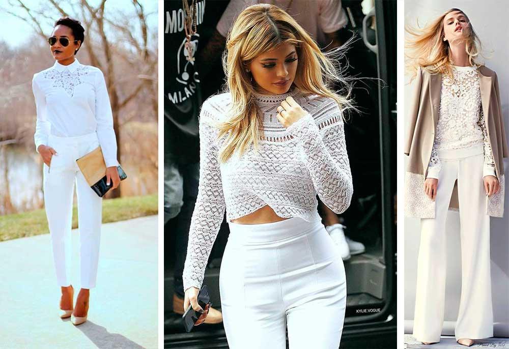 Άσπρο παντελόνι με δαντέλα