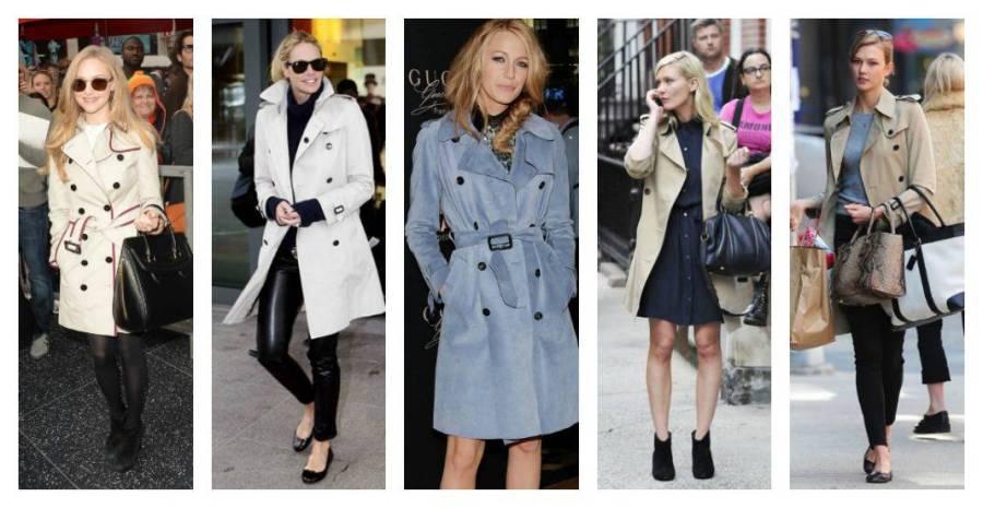 celebrities trench coats