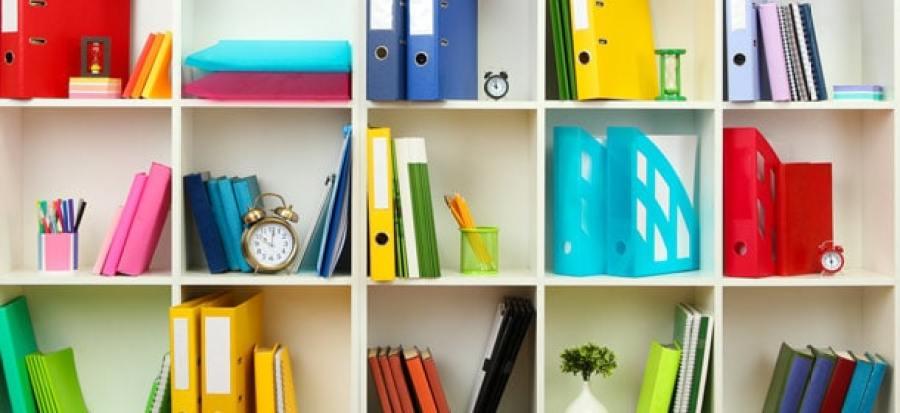 declutter office shelving