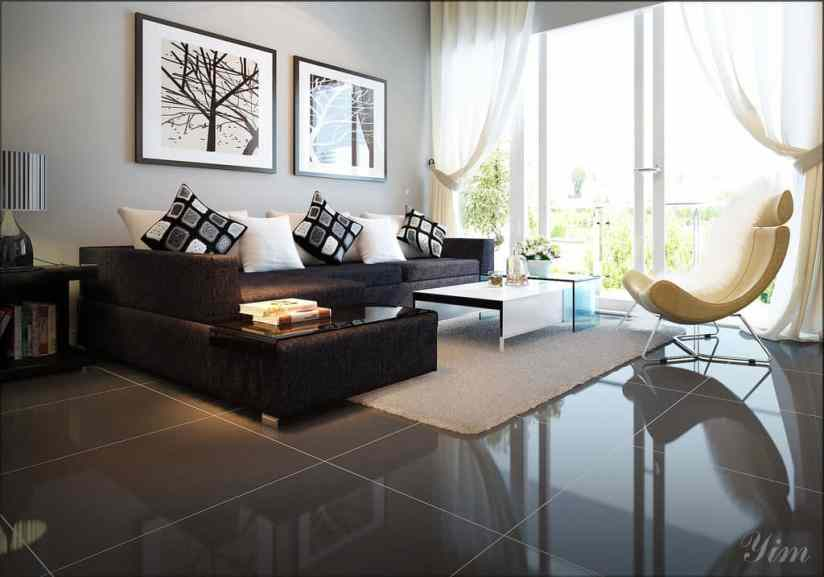 Modern-Living-Room-with-a-Dark-Couch-and-White-Rugs-Design