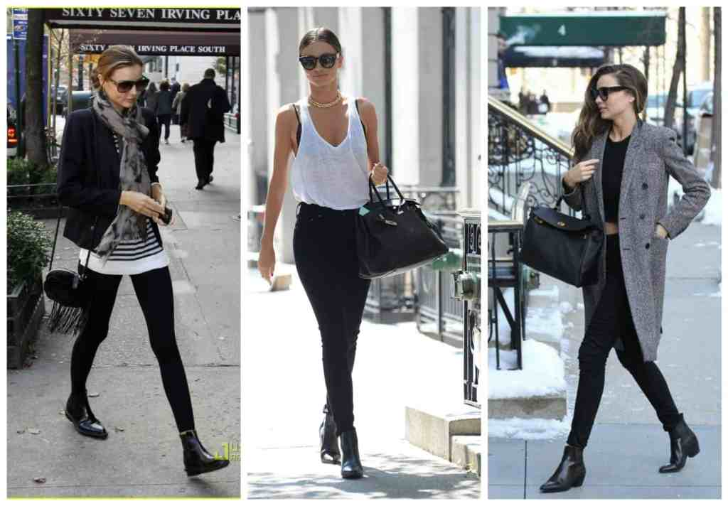 Miranda Kerr black ankle boots black bag collage