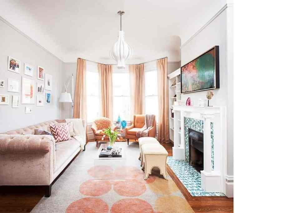 blush tones living room