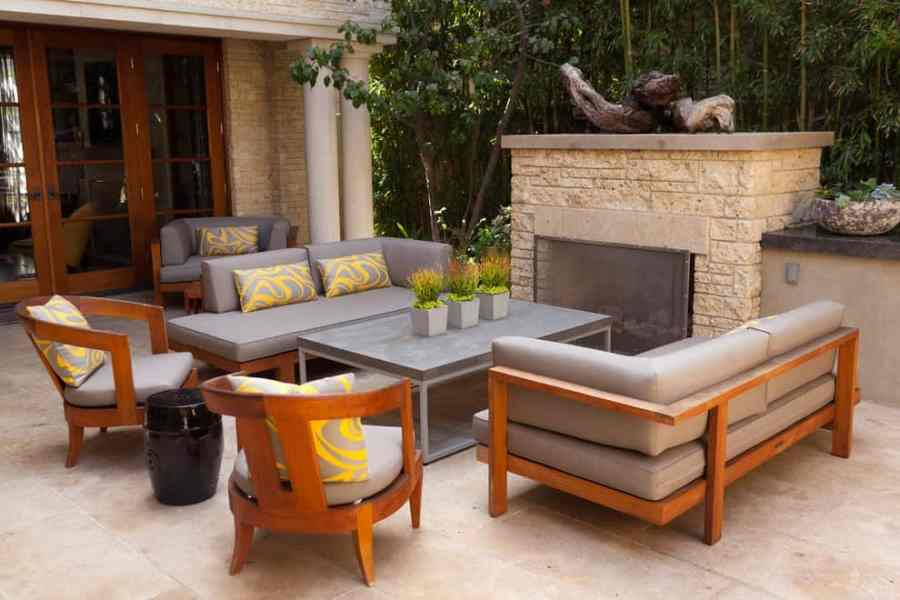 safco-furniture-Landscape-Contemporary-with-black-ceramic-stool-coffee-table-columns-french-doors-gray-outdoor-entertaining-outdoor