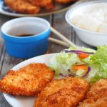 Chicken Katsu are breaded chicken breasts that are nice and juicy on the inside, and crispy on the outside.