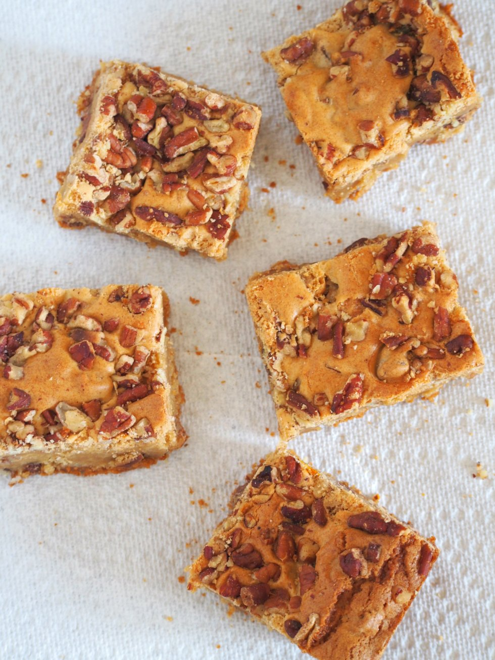 Enjoy these chewy butterscotch bars studded with crunchy pecans and delightful chocolate chips. Best things to munch anytime, anywhere.