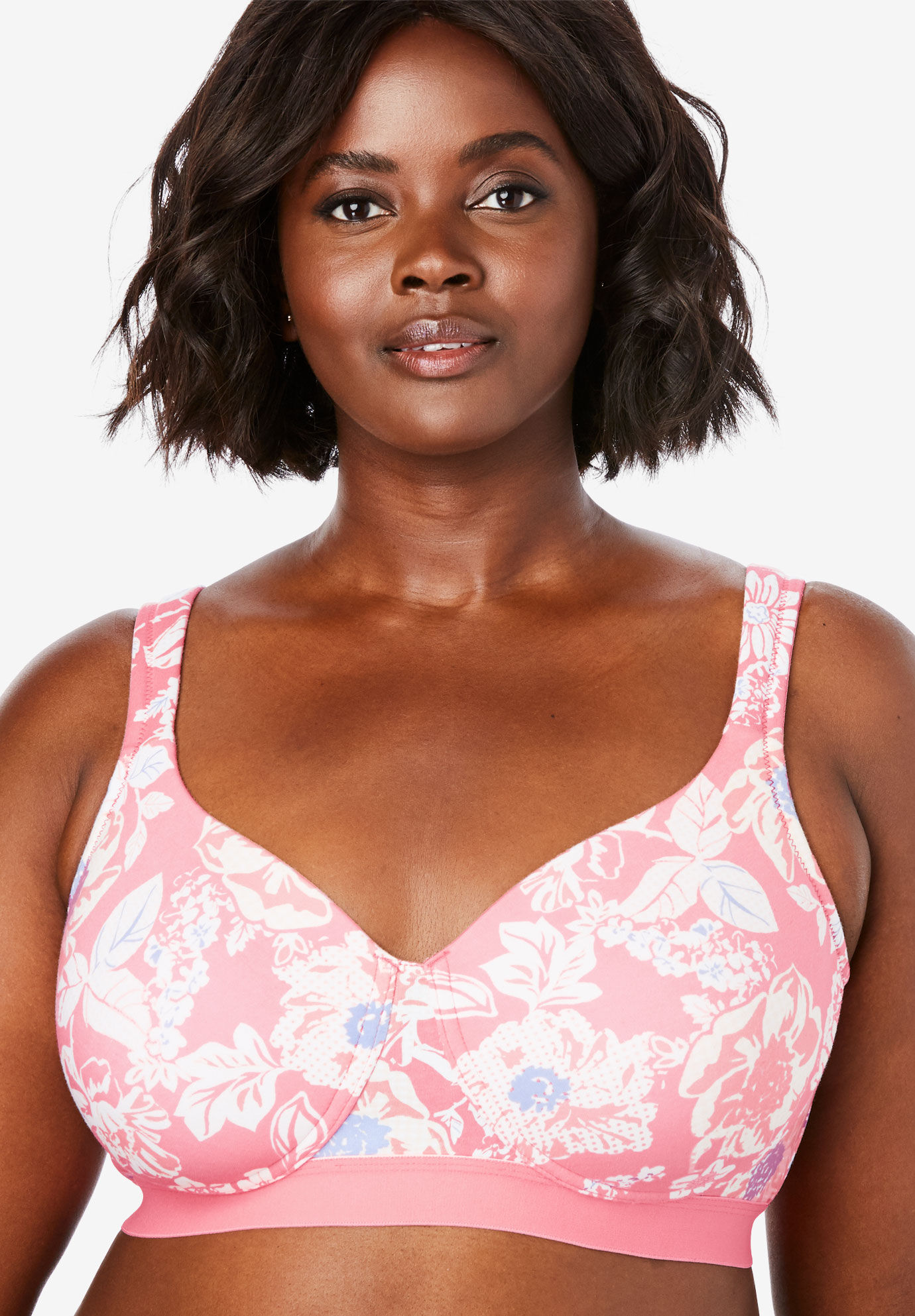 Bottom band cotton wireless  shirt bra by comfort choice also plus size bras with large cup sizes woman within rh womanwithin