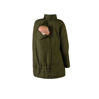 Wombat Wallaby babywearng and maternity jacket green with baby and collar back