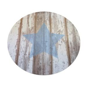 שטיח וניל עגול מעוצב עם כוכב תכלת