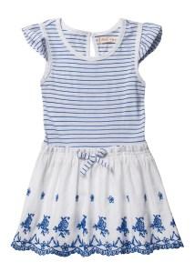 שמלה לילדות בצבעים כחול ולבן פוקס