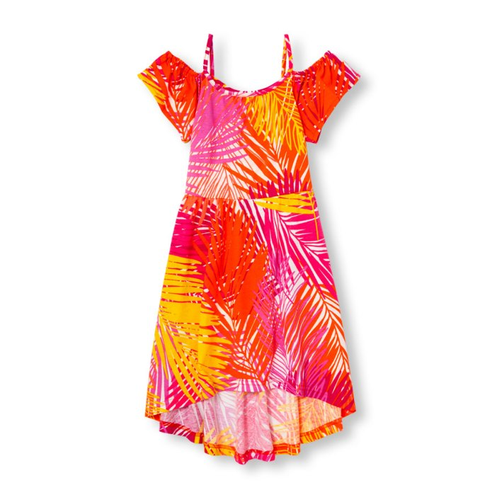 שמלה בגוונים טרופיים לבנות