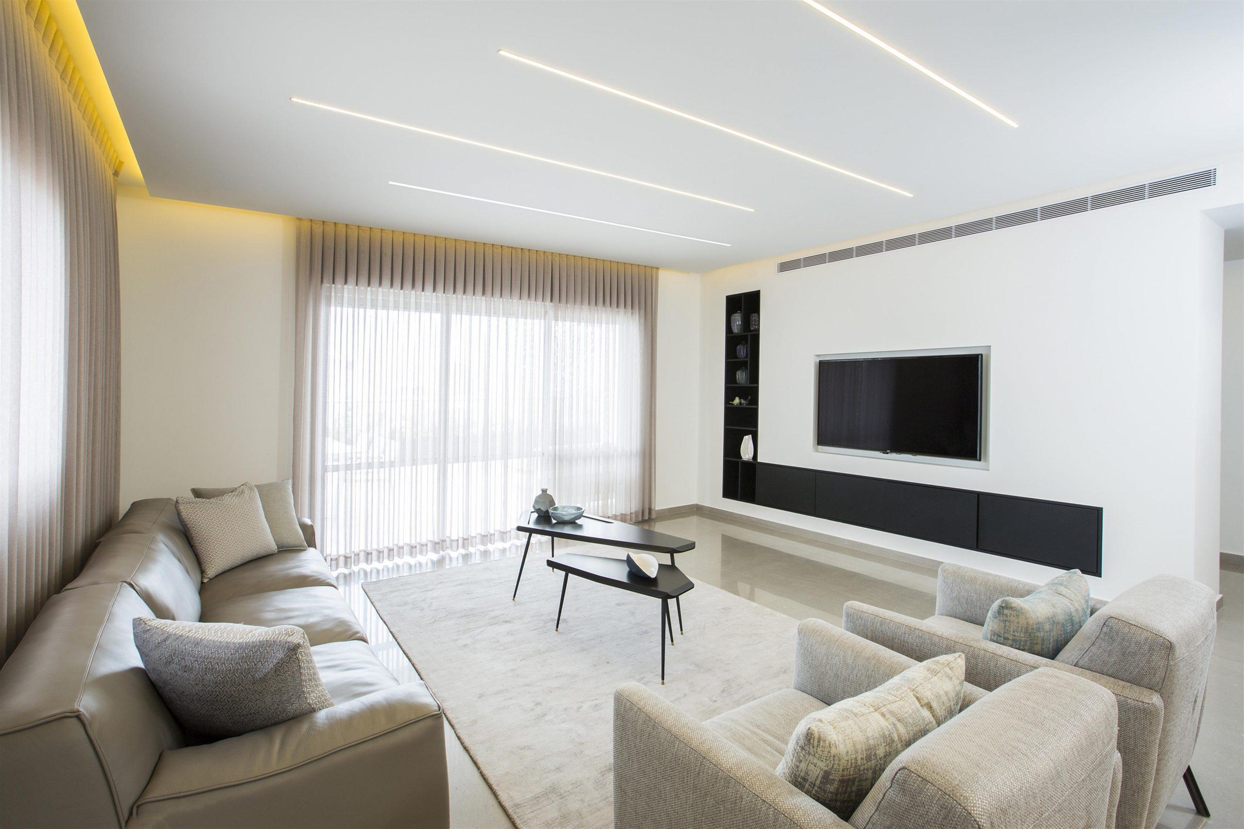 עיצוב סלון בדירת פנטהאוז
