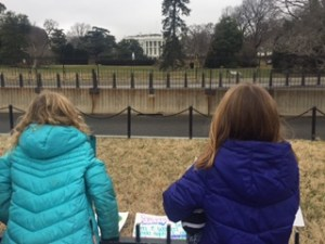 My daughters first view of the White House was interrupted by people against the March on Washington.