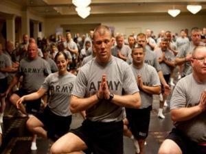 Veterans doing yoga