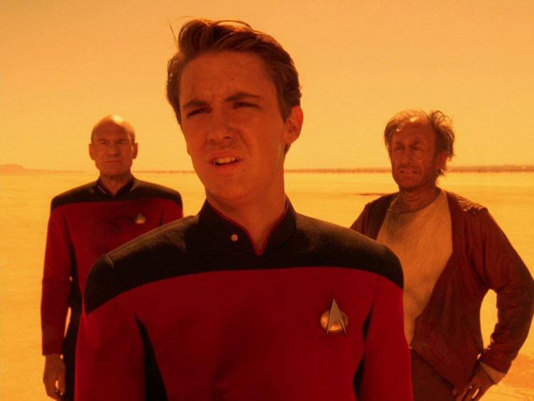 "Wesley and Picard in the desert in ""Final Mission"""