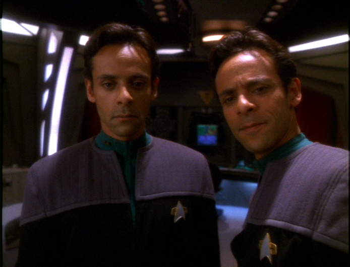 Doctor Bashir and the hologram of himself