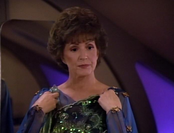 Lwaxana in green sparkly dress