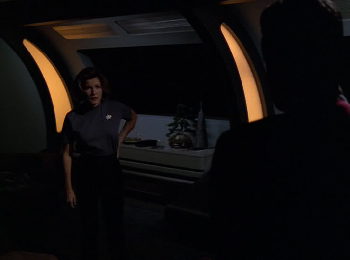 "janeway in her dark quarters in ""Night"""