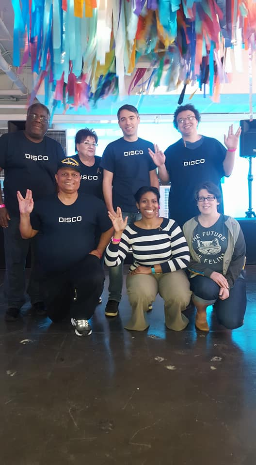 "Trek fans, most in ""Disco"" shirts"