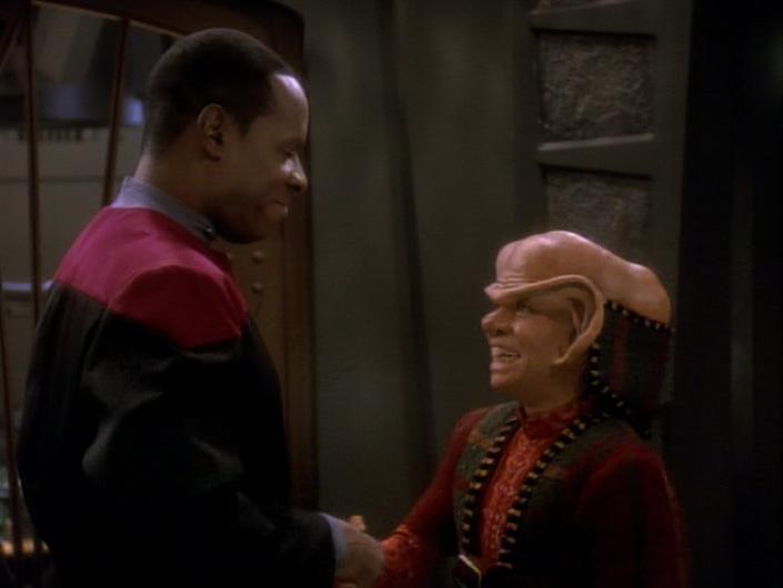 Nog and Sisko shake hands