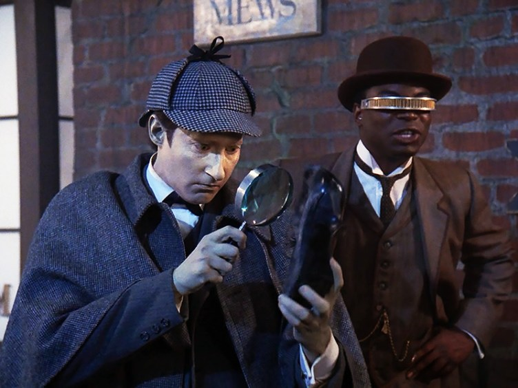 Data and Geordi as Sherlock Holmes and Watson