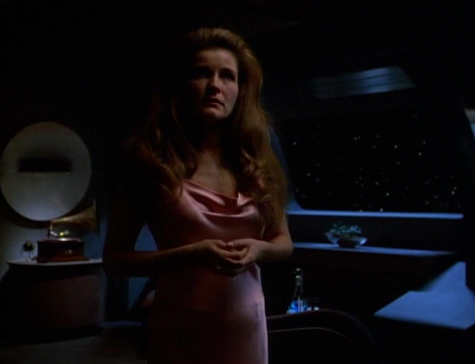 Janeway in nightgown