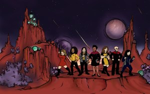 Women at Warp crew drawn as Trek characters