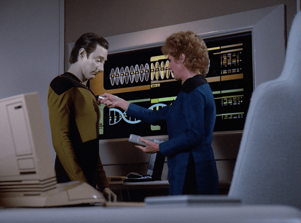 Pulaski meets Data in Sickbay