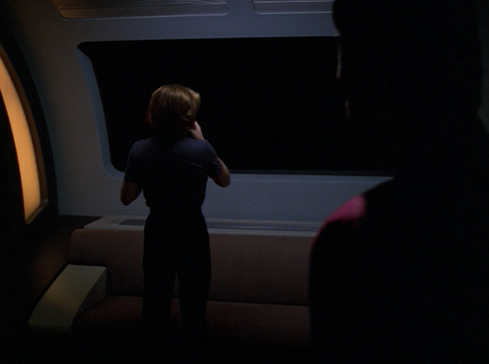 """Janeway looking out into the void in """"Night"""""""