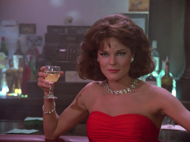 Minuet (Carolyn McCormick) at the bar in the holodeck