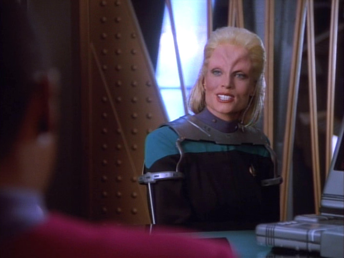 Melora reacts angrily to Sisko