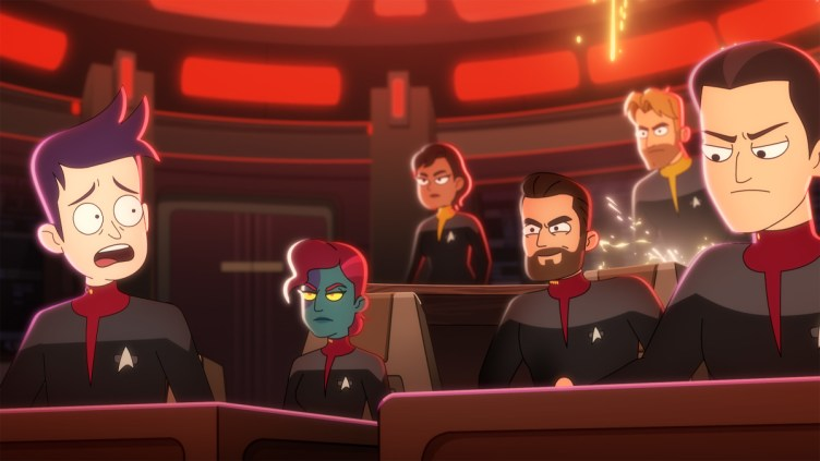 """""""Strange Energies"""" -- Jack Quaid as Ensign Brad Boimler, Vanessa Marshall as First Officer, Jonathan Scott Frakes as Capt. William T. Riker, Ryan Stanger as """"Tactical Officer"""" and Nolan North as Titan Conn Officer of the Paramount+ series STAR TREK: LOWER DECKS. Photo: PARAMOUNT+ ©2021 CBS Interactive, Inc. All Rights Reserved **Best Possible Screen Grab**"""