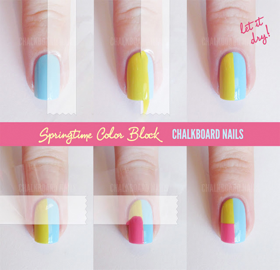 Easy Step By Color Block Nail Tutorials Art For Beginners Without Tools