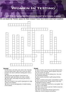 Women In Testing - Crossword Puzzle