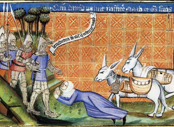 Abigail, David in the Bible: Abigail with her food-laden asses meets David, medieval manuscript