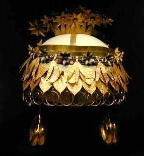 Gold and lapis lazuli headdress from the tomb of Queen Puabi, from the Sumerian city of Ur. Ur was the birthplace of Abraham.