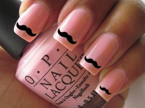 Funny nail art mustaches on pink