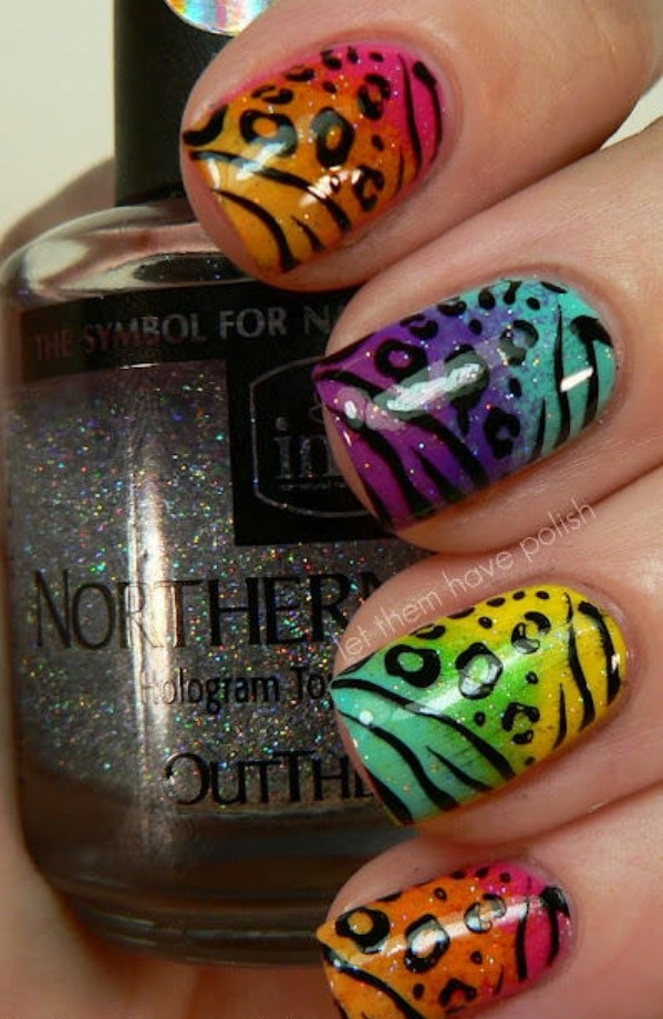Funny leopard print nail art example and tutorial