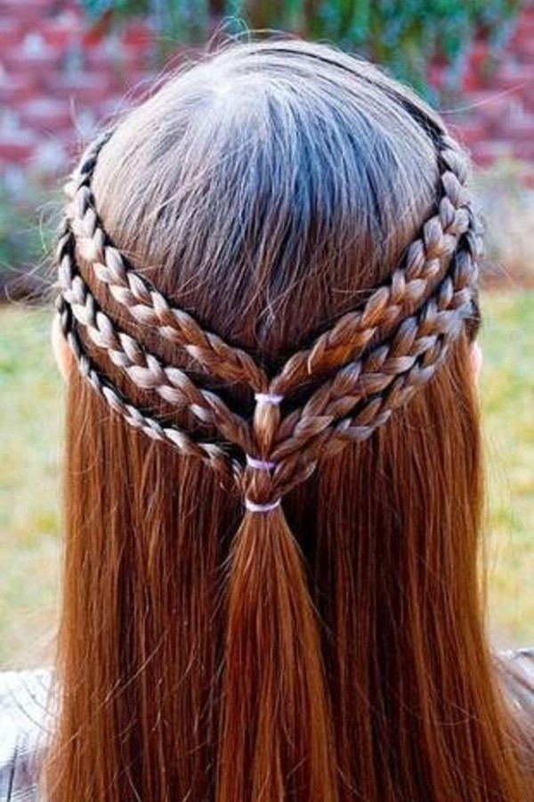Triple braided half up hairstyle