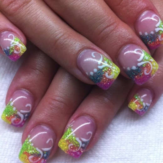 Colorful gel nail design art