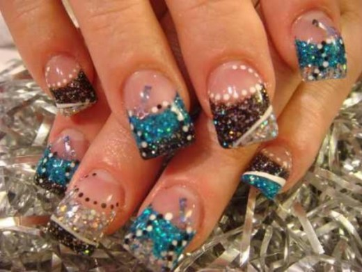 Shiny colors gel nail design