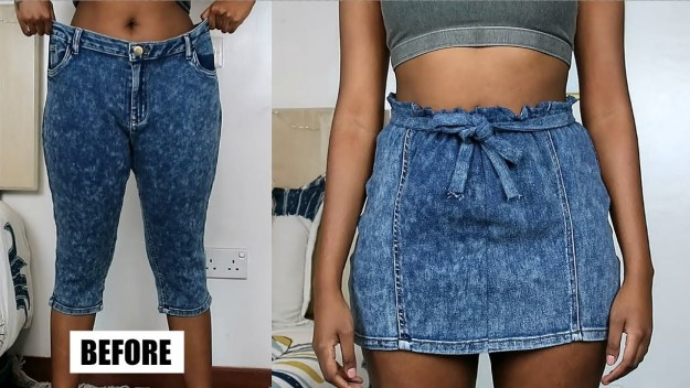 jeans into mini skirt DIY