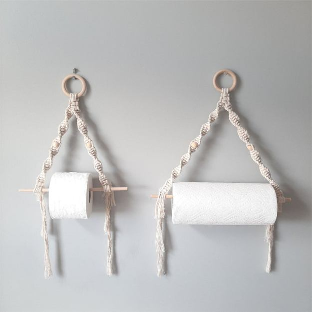 macrame wall hanging paper holder