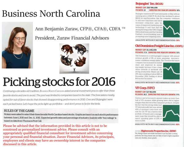 Ann Zuraw's appearance in the January 2016 issue of Business North Carolina.