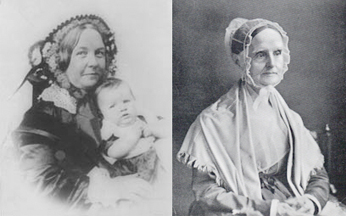 Elizabeth Cady Staton (left) and Lucretia Mott (right).