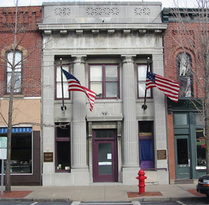 The Helen Mosher Barben Building in the Historic District of Seneca Falls, New York.