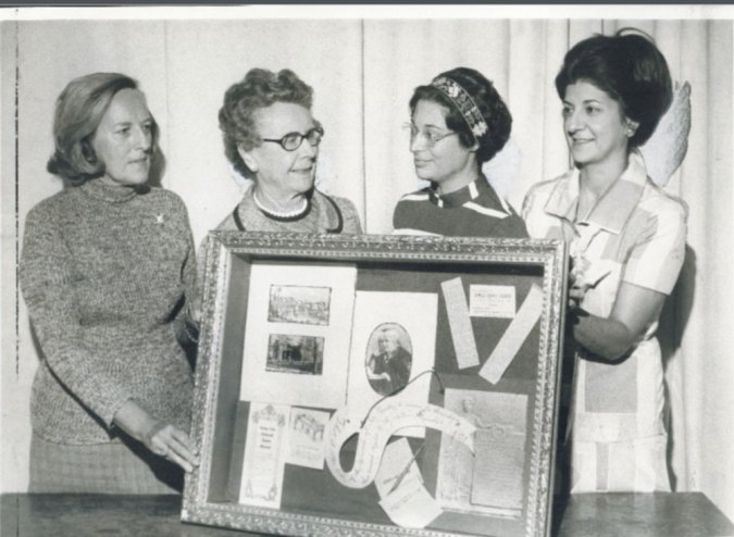 (L-R) Hall supporter and attendee at the Founder's Tea: Doris Walsh, and Hall Founders: Elizabeth Delavan, Shirley Hartley, and Ann Bantuvanis.