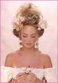 Bride Updo Hairstyle With Flowers, Blond Vintage Bridal ...