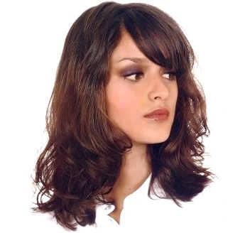 Womens Medium Length Hair Style With Wavy Curl Bangs