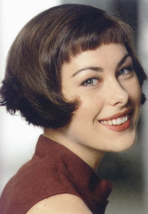 Short Hair Stylel Curled Tips Bob Style With Mini Bangs