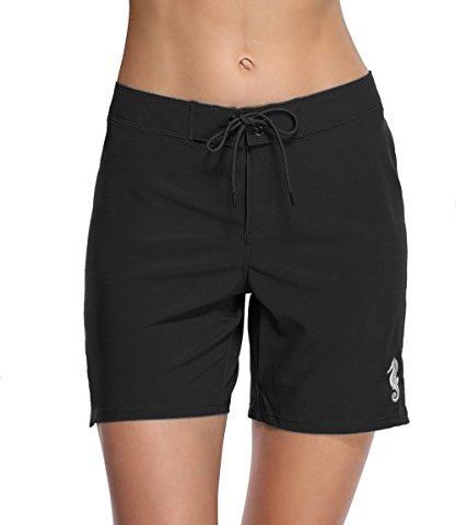 303b0945cd eulo Women's Swim Shorts High Waisted Long Board Short Solid Beach Bottom  Trunks